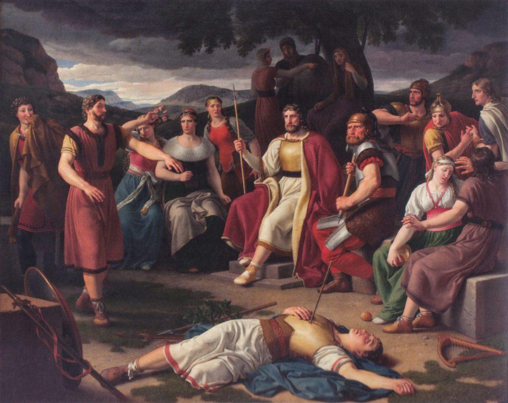 Balder den vakreste gud i Asgård dør etter å ha blitt skutt men en pil lagd av misteltein.